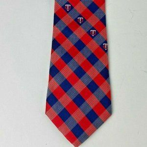 Minnesota Twins Mens Tie Plaid Style MLB Baseball